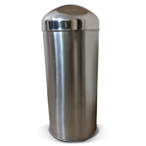 "Stainless Steel Push Dust Bin - 14"" x 32"""